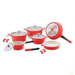 Σετ Μαγειρικών Σκευών με Αντικολλητική Κεραμική Επίστρωση 14 τμχ Χρώματος Κόκκινο Royalty Line RL-ES1014C