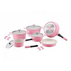 Σετ Μαγειρικών Σκευών με Αντικολλητική Κεραμική Επίστρωση 14 τμχ Χρώματος Ροζ Royalty Line RL-ES1014C