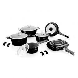 Σετ Μαγειρικών Σκευών με Αντικολλητική Μαρμάρινη Επίστρωση 15 τμχ Χρώματος Μαύρο Royalty Line RL-ES1015M