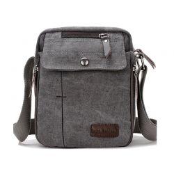 Ανδρική Τσάντα Χιαστί Canvas Χρώματος Γκρι SPM DB5605
