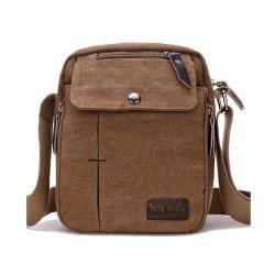 Ανδρική Τσάντα Χιαστί Canvas Χρώματος Καφέ SPM DB5607
