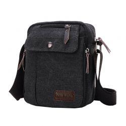Ανδρική Τσάντα Χιαστί Canvas Χρώματος Μαύρο SPM DB5608
