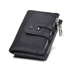 Δερμάτινο Πορτοφόλι με Αντικλεπτική Προστασία RFID Χρώματος Μαύρο SPM DB5345