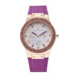 Γυναικείο Ρολόι Χρώματος Ροζ - Χρυσό με Μωβ Λουράκι Σιλικόνης και Κρύσταλλα Swarovski® Timothy Stone F-034-RGPR