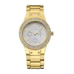 Γυναικείο Ρολόι Χρώματος Χρυσό με Μεταλλικό Μπρασελέ και Κρύσταλλα Swarovski® Timothy Stone F-022-ALGD