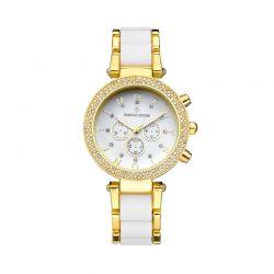 Γυναικείο Ρολόι Χρώματος Χρυσό με Μεταλλικό Δίχρωμο Μπρασελέ και Κρύσταλλα Swarovski® Timothy Stone D-012-ALGLWH