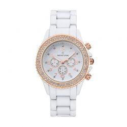 Γυναικείο Ρολόι Χρώματος Ροζ - Χρυσό με Μεταλλικό Κεραμικό Ματ Μπρασελέ και Κρύσταλλα Swarovski® Timothy Stone A-054-ALWHRG