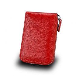Δερμάτινο Πορτοφόλι για 11 Πιστωτικές Κάρτες με Αντικλεπτική Προστασία RFID Χρώματος Κόκκινο SPM DYN-SlotWatter RED