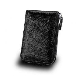 Δερμάτινο Πορτοφόλι για 11 Πιστωτικές Κάρτες με Αντικλεπτική Προστασία RFID Χρώματος Μαύρο SPM DYN-SlotWatter BLK