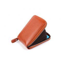 Δερμάτινο Πορτοφόλι για Πιστωτικές Κάρτες με Αντικλεπτική Προστασία RFID Χρώματος Καφέ SPM DB5753