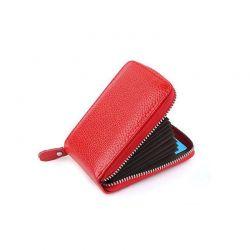 Δερμάτινο Πορτοφόλι για Πιστωτικές Κάρτες με Αντικλεπτική Προστασία RFID Χρώματος Κόκκινο SPM DB5751