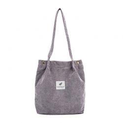 Γυναικεία Κοτλέ Τσάντα Ώμου Χρώματος Γκρι SPM DB5689