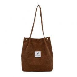 Γυναικεία Κοτλέ Τσάντα Ώμου Χρώματος Καφέ SPM DB5687