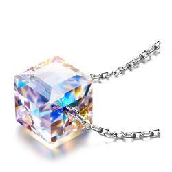 Κολιέ με Μενταγιόν Aurora Cube Philip Jones με Κρύσταλλα Swarovski®