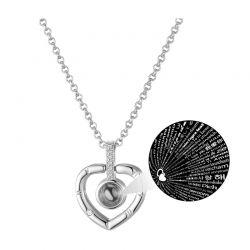 Κολιέ με Μενταγιόν σε Σχήμα Καρδιάς Philip Jones Χρώματος Ασημί με Κρύσταλλα Swarovski®
