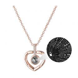 Κολιέ με Μενταγιόν σε Σχήμα Καρδιάς Philip Jones Χρώματος Ροζ - Χρυσό με Κρύσταλλα Swarovski®
