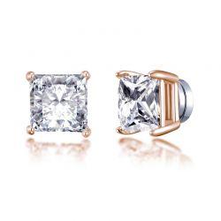 Μαγνητικά Τετράγωνα Σκουλαρίκια Philip Jones Χρώματος Ροζ - Χρυσό με Κρύσταλλα Swarovski®