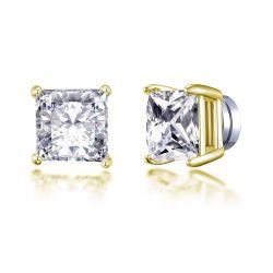 Μαγνητικά Τετράγωνα Σκουλαρίκια Philip Jones Χρώματος Χρυσό με Κρύσταλλα Swarovski®
