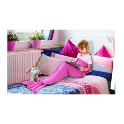 Παιδική Πλεκτή Κουβέρτα Γοργόνα 90 x 70 cm Χρώματος Φούξια SPM DYN-MermaidMini HPNK
