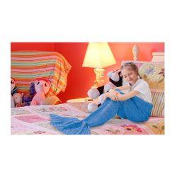 Παιδική Πλεκτή Κουβέρτα Γοργόνα 90 x 70 cm Χρώματος Μπλε SPM DYN-MermaidMini BLU