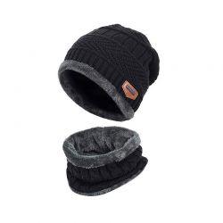 Παιδικό Σετ Σκούφος και Κασκόλ Χρώματος Μαύρο SPM DYN-KnittedHat
