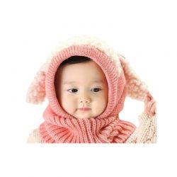 Παιδικό Πλεκτό Σκουφάκι με Αυτιά Χρώματος Ροζ SPM DYN-FluffyBean