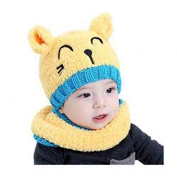 Παιδικό Σετ Σκούφος και Κασκόλ Χρώματος Κίτρινο SPM DB6616