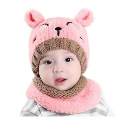 Παιδικό Σετ Σκούφος και Κασκόλ Χρώματος Ροζ SPM DB6615