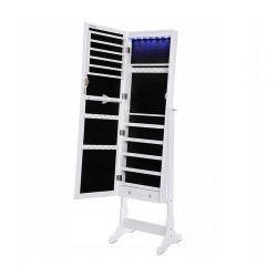 Κοσμηματοθήκη Μπιζουτιέρα με Ολόσωμο Καθρέπτη και Φωτισμό LED 41.5 x 154 x 36 cm Songmics JBC94W