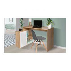 Ξύλινο Γωνιακό Γραφείο με 2 Ντουλάπια Cambridge 112 x 76.5 x 50 cm Χρώματος Καφέ Idomya 30080284
