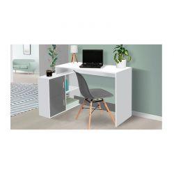 Ξύλινο Γωνιακό Γραφείο με 2 Ντουλάπια Cambridge 112 x 76.5 x 50 cm Χρώματος Λευκό Idomya 30080283