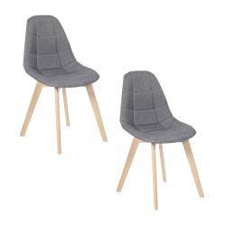 Σετ Καρέκλες με Ξύλινα Πόδια και Ύφασμα Gabriella 46.5 x 50 x 88.5 cm Χρώματος Γκρι 2 τμχ Idomya 30080189