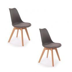 Σετ Καρέκλες Πολυπροπυλενίου με Ξύλινα Πόδια Suedia 40 x 54 x 80 cm Χρώματος Γκρι 2 τμχ Idomya 50070238