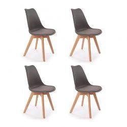 Σετ Καρέκλες Πολυπροπυλενίου με Ξύλινα Πόδια Suedia 40 x 54 x 80 cm Χρώματος Γκρι 4 τμχ Idomya 50070242