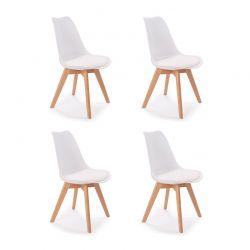 Σετ Καρέκλες Πολυπροπυλενίου με Ξύλινα Πόδια Suedia 40 x 54 x 80 cm Χρώματος Λευκό 4 τμχ Idomya 50070243