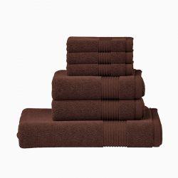Σετ με 6 Πετσέτες Dickens από 100% Luxury Αιγυπτιακό Βαμβάκι Χρώματος Καφέ DTOWEL-6CHOC