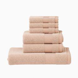 Σετ με 6 Πετσέτες Dickens από 100% Luxury Αιγυπτιακό Βαμβάκι Χρώματος Μπεζ DTOWEL-6BEIGE