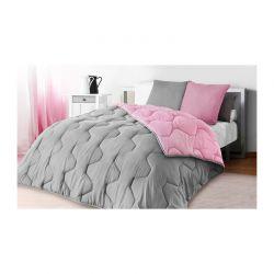 Σετ Πάπλωμα Διπλής Όψης Υπέρδιπλο 220 x 240 cm με 2 Μαξιλάρια Χρώματος Γκρι - Ροζ Idomya 30101095