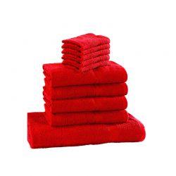 Σετ με 10 Πετσέτες Dickens από 100% Luxury Αιγυπτιακό Βαμβάκι Χρώματος Κόκκινο D10-Red