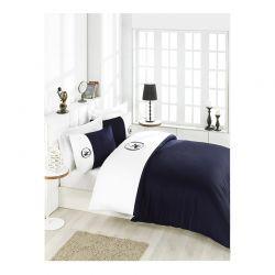 Σετ Διπλή Παπλωματοθήκη με Μαξιλαροθήκες και Σεντόνι 200 x 220 cm Beverly Hills Polo Club 106 Χρώματος Navy