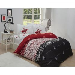 Σετ Μονή Παπλωματοθήκη με Μαξιλαροθήκη και Σεντόνι 160 x 220 cm Beverly Hills Polo Club 004 Χρώματος Κόκκινο