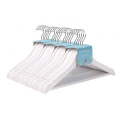 Σετ Παιδικές Ξύλινες Κρεμάστρες Ρούχων 20 τμχ Χρώματος Λευκό Songmics CRW06W-20