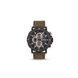 Ανδρικό Ρολόι με Χακί Σουέτ Δερμάτινο Λουράκι Extri X6029C 8719325422474