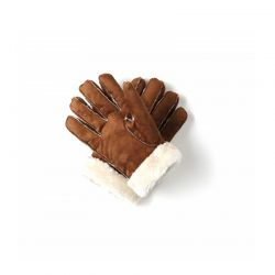 Γυναικεία Δερμάτινα Γάντια Μουτόν Χρώματος Καφέ Ανοιχτό SPM 8715342025650