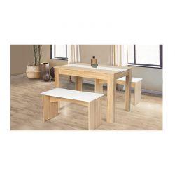 Σετ Ξύλινο Τραπέζι με 2 Πάγκους Χρώματος Καφέ SPM 30084252