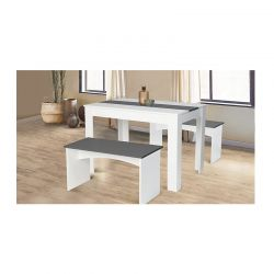 Σετ Ξύλινο Τραπέζι με 2 Πάγκους 110 x 70 x 73 cm Χρώματος Λευκό SPM 30084253