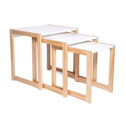 Σετ Βοηθητικά Ξύλινα Τραπέζια 48 x 40 x 48.5 cm Livia Χρώματος Λευκό SPM 30083219