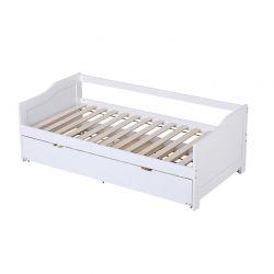 Μονό Ξύλινο Κρεβάτι με Δεύτερο Συρταρωτό Κρεβάτι HOMCOM 831-266