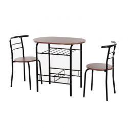 Σετ Μεταλλικό Οβάλ Τραπέζι 80 x 50 x 76 cm με 2 Καρέκλες HOMCOM 835-134