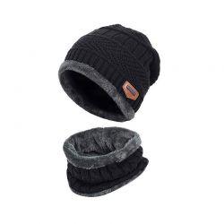 Σετ Σκούφος και Κασκόλ Χρώματος Μαύρο SPM DYN-MenHatScarf-BLK